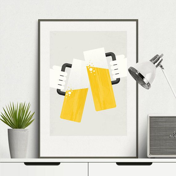 Two glasses of beer - Beer Print Art, Beer, Minimal, Art Print ...