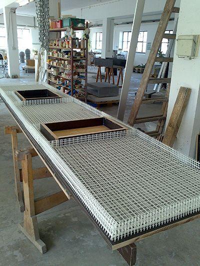 Kuche Mit Textilbewehrter Betonarbeitsplatte Beton Org Dekorativer Beton Betonarbeitsplatte Kuche Beton