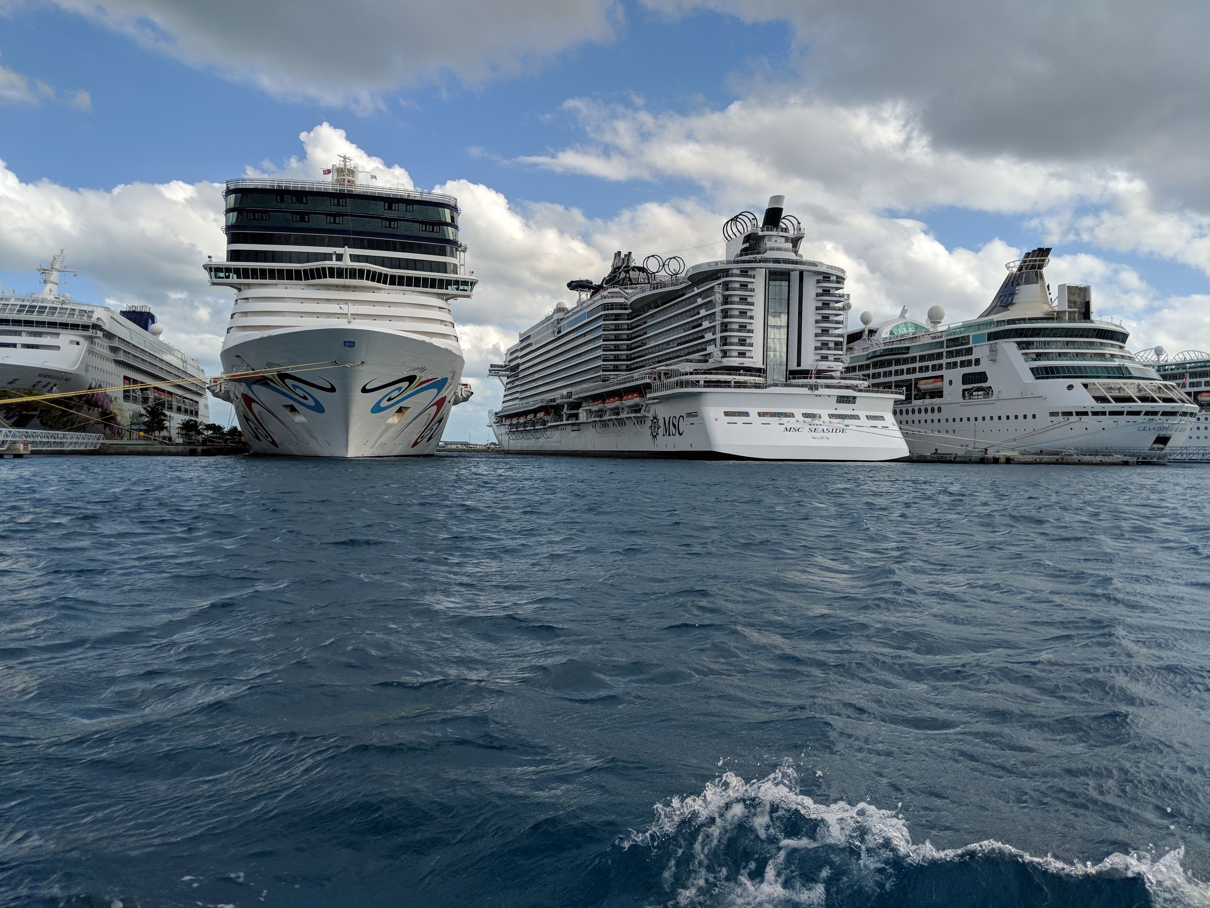 MSC Seaside ported next to Carnival and NCL.   Msc cruises ...