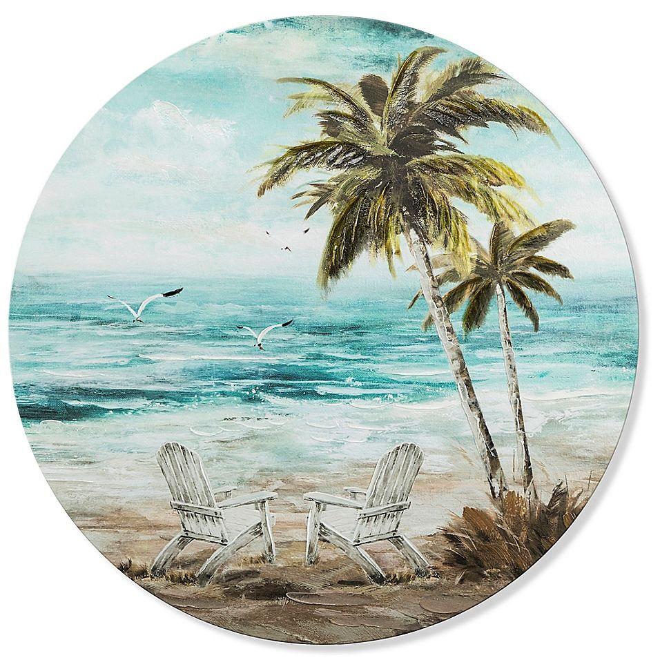 Beach chair scene 2756inch round canvas wall art round