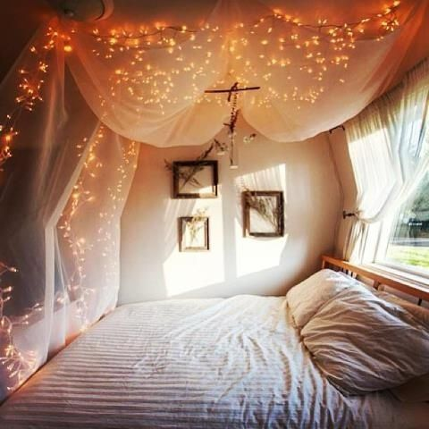 I LOVE this idea for above my bed...and with white or cream colored curtains by Aniky