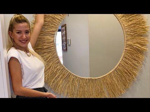 DIY   Karantinada Dekoratif Duvar Aynası Yaptım   Rafya   Saman İpten Du...