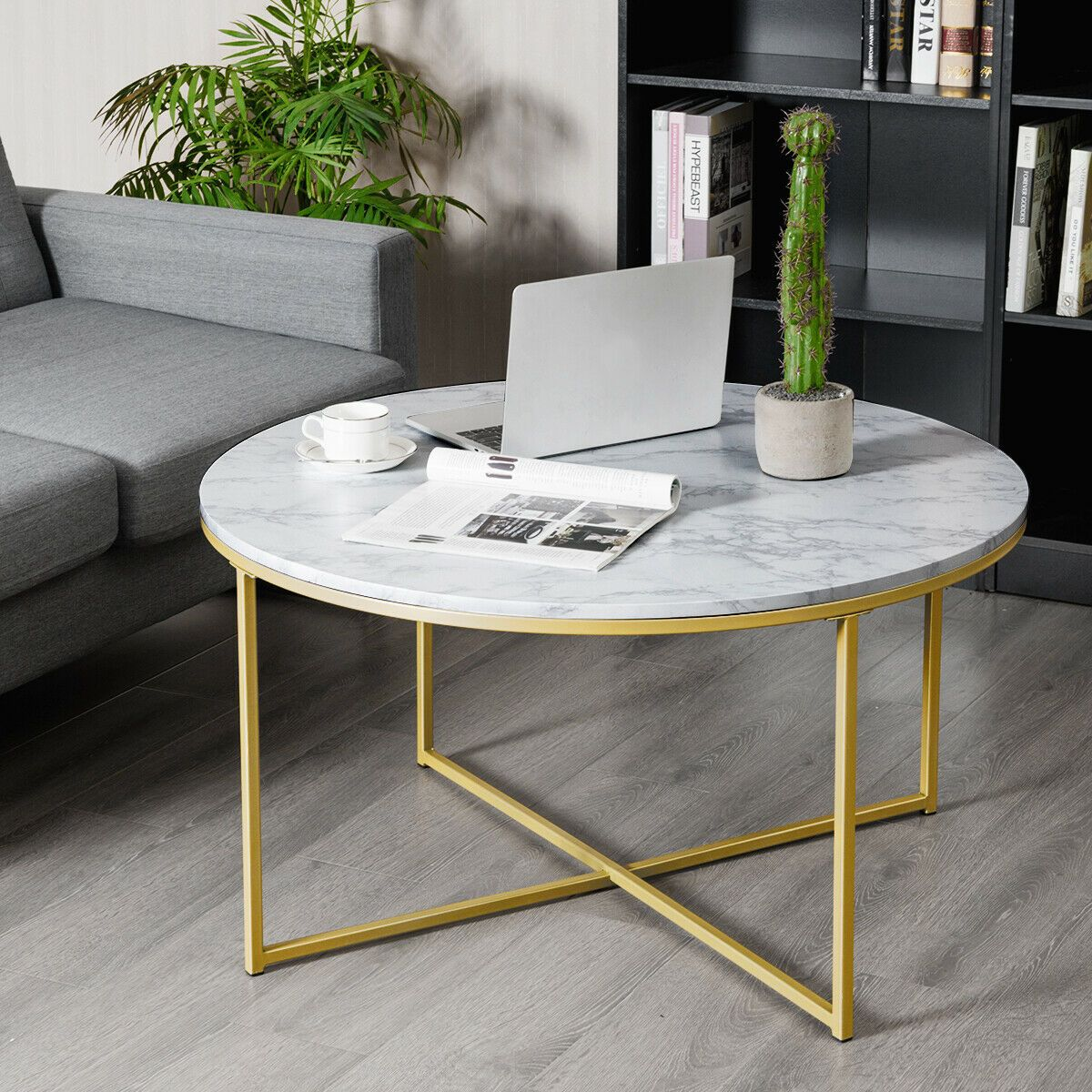 Modern Faux Marble Top Round Accent Side Coffee Table Coffee Table Side Coffee Table Gold Living Room Furniture [ 1200 x 1200 Pixel ]