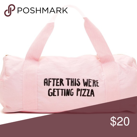 """BanDo Duffle Bag Gently used . BanDo Duffle Bag . Baby Pink . """"After this we're getting pizza"""" says it all folks . I've gotten more compliments on this adorable bag than I can count . ban.do Bags Travel Bags"""
