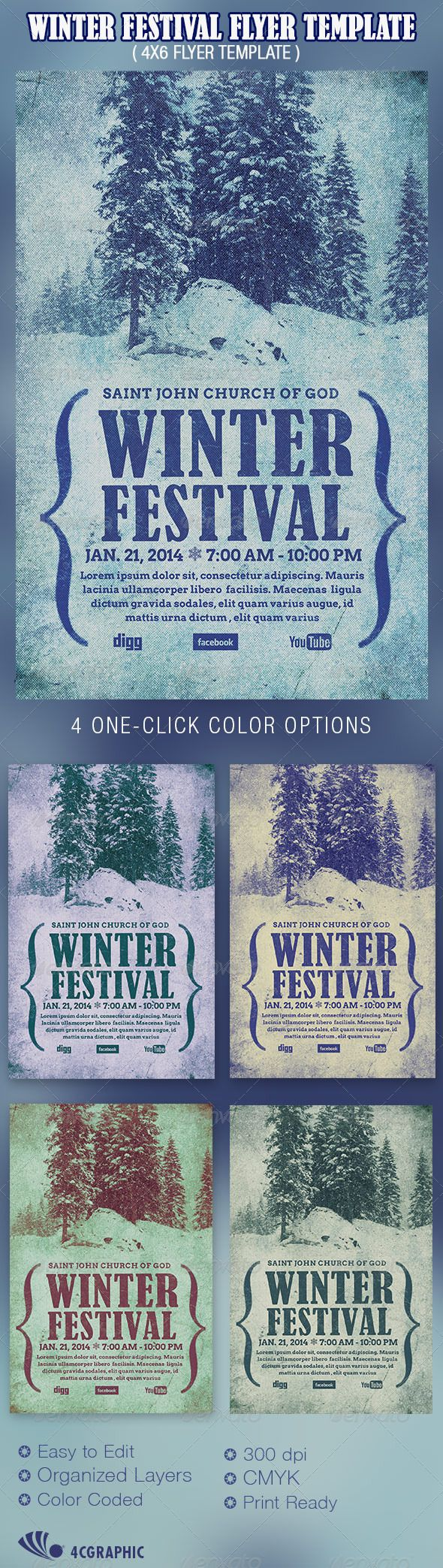 Winter Festival Flyer Template  Winter Festival Event Flyers And