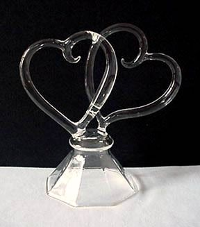 Double Hearts Glass Cake Topper
