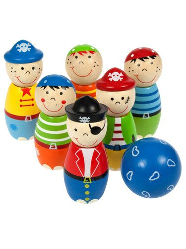 Pirate Child Bigjigs Toys Wooden Play Activity Skittles For Kids Children