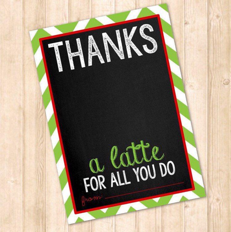 Thank a latte printable Teacher Christmas Gift Teacher gift card holder printable Thanks a latte Card Printable Thank you card