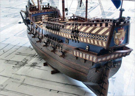 Late 16th Century Galleon Golden Lion Galleon Wooden Ship