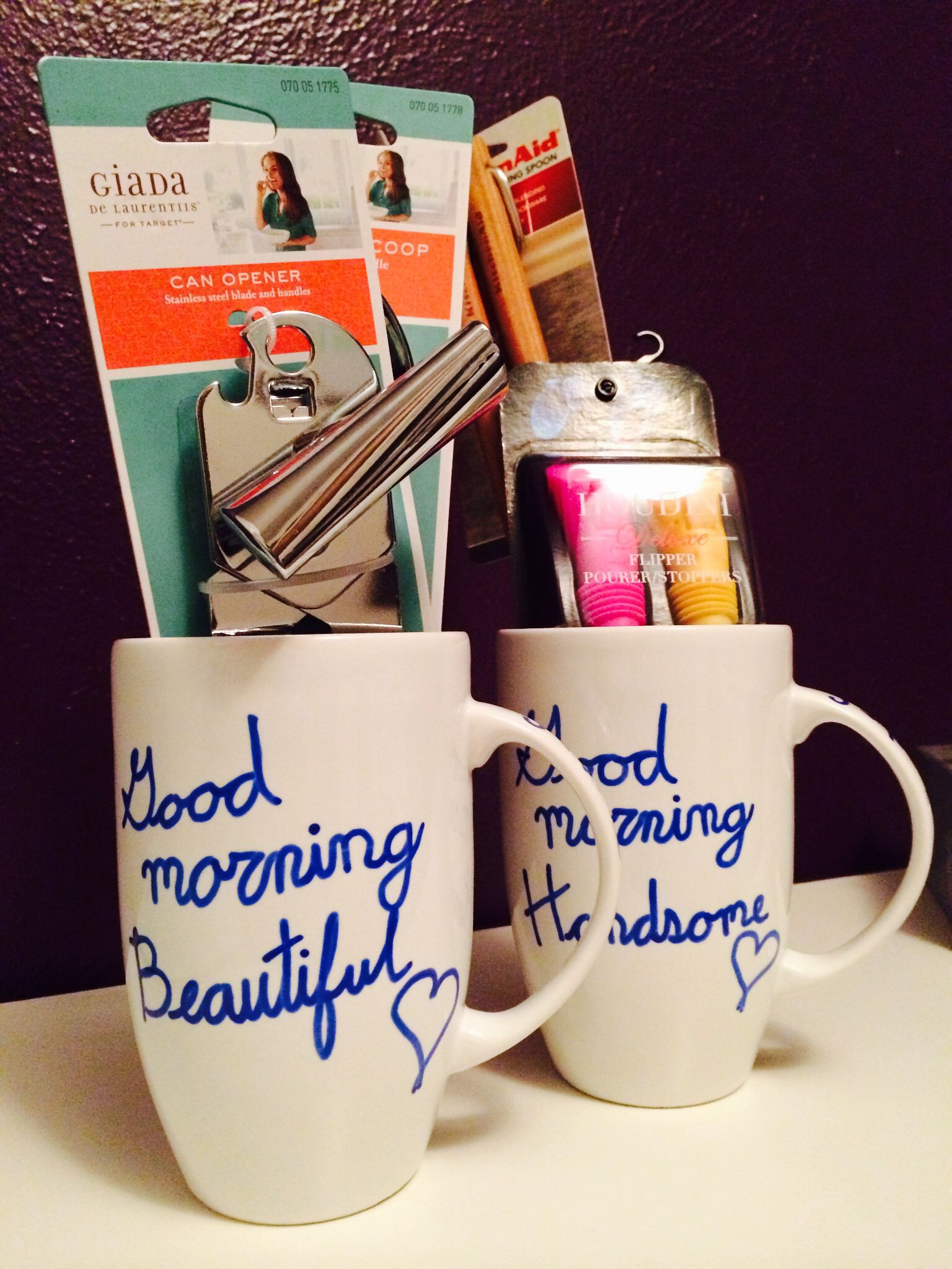 Bridal shower gift his and hers coffee mugs filled with