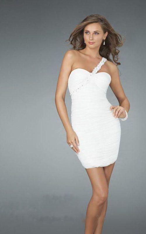 La Femme 14612 Floral One Shoulder Cocktail Short Prom Dresses White