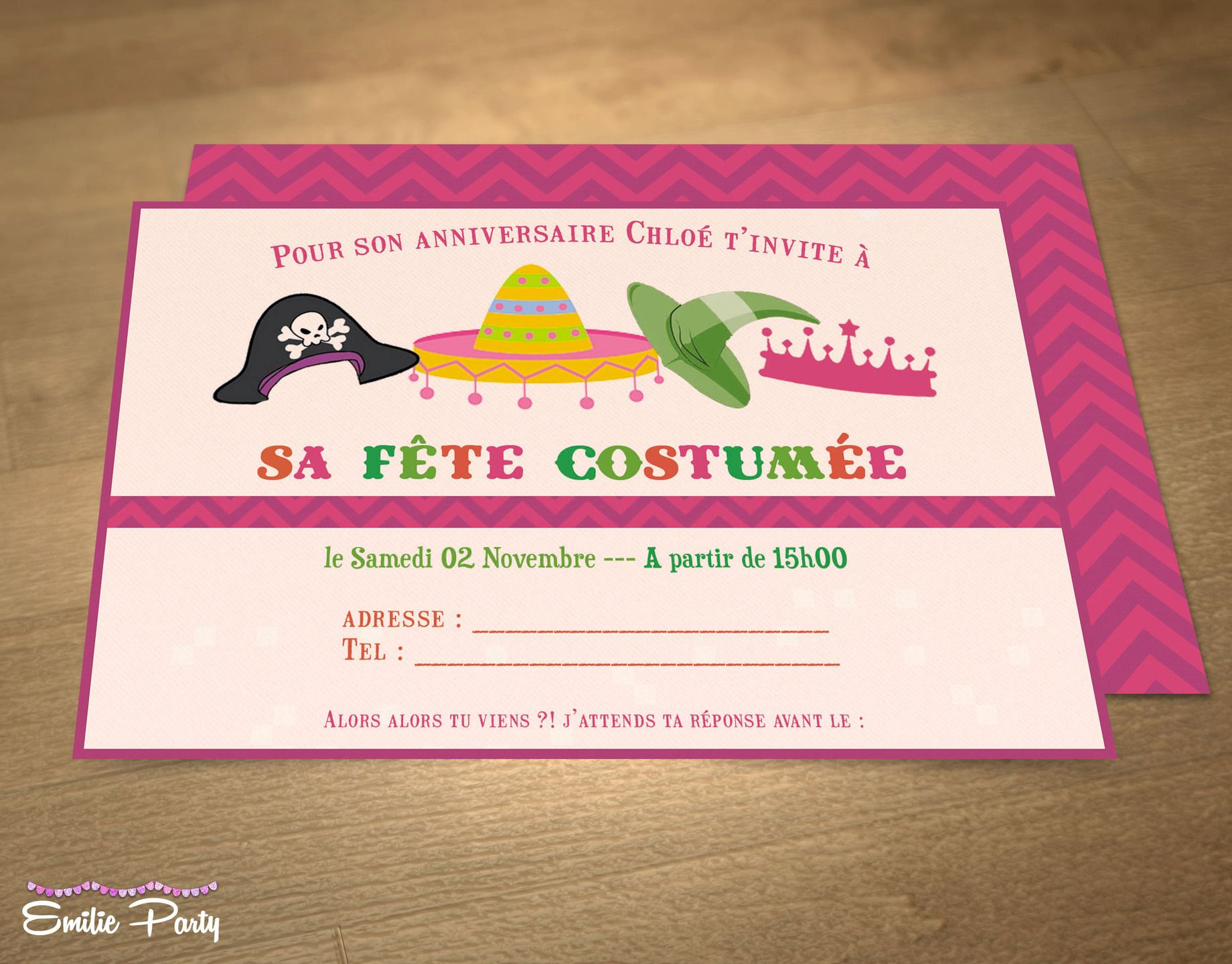 Invitation anniversaire personnalisable thme fte costume invitation anniversaire personnalisable thme fte costume autres papeterie par emilie party stopboris Choice Image