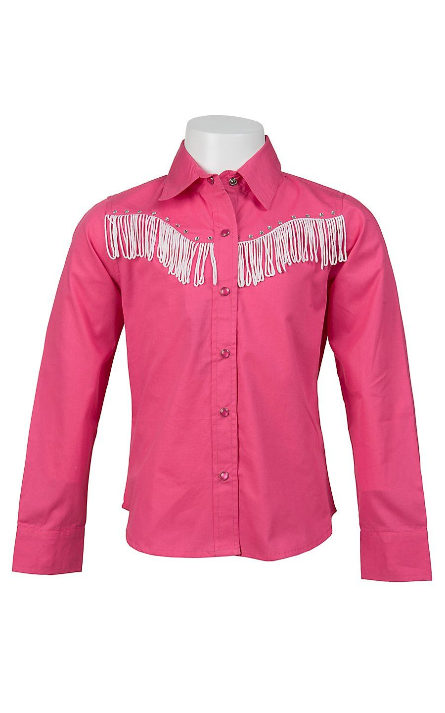715323a659c29 Cumberland Outfitters® Girl s Hot Pink with White Fringe   Rhinestones Long  Sleeve Western Shirt