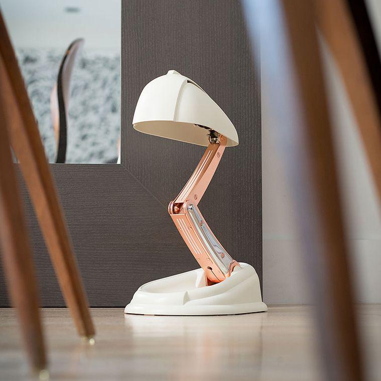 Lampe A Poser Retractable Ivoire Cuivre H41cm Jumo Classique