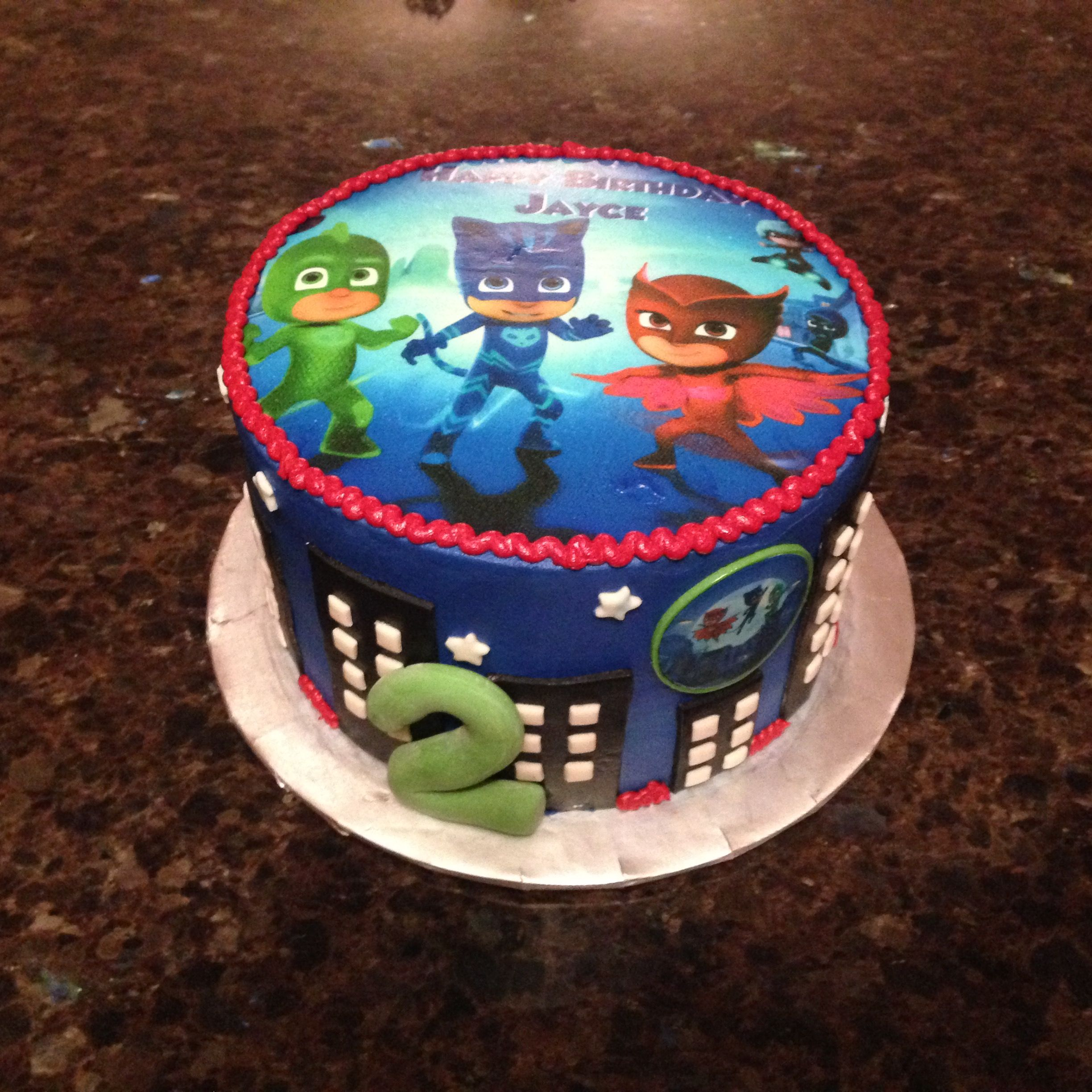 Sensational Pj Masks Cake Pj Masks Birthday Cake Pj Masks Birthday Party Funny Birthday Cards Online Alyptdamsfinfo