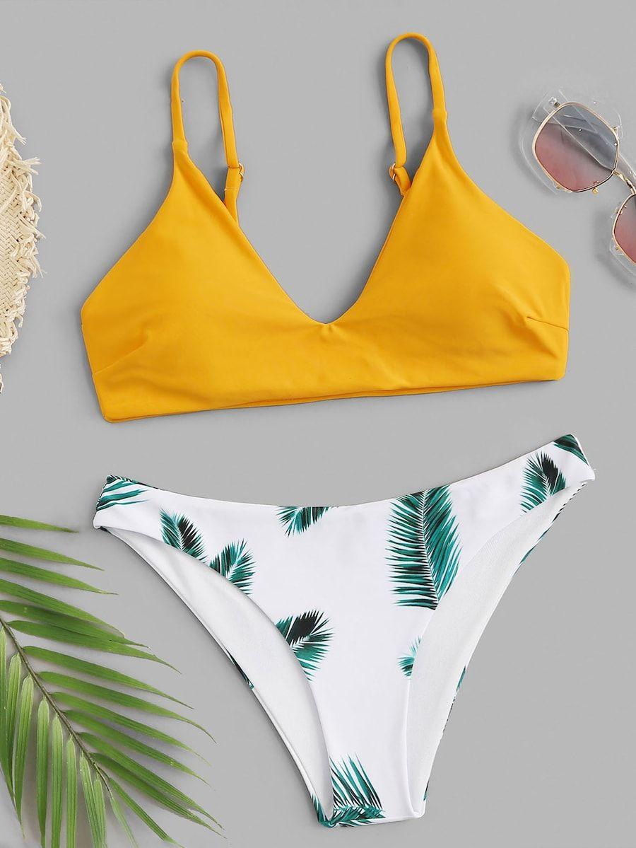 376f2d85e4 Random Leaf Print Mix and Match Bikini Set -SheIn(Sheinside) | II ...