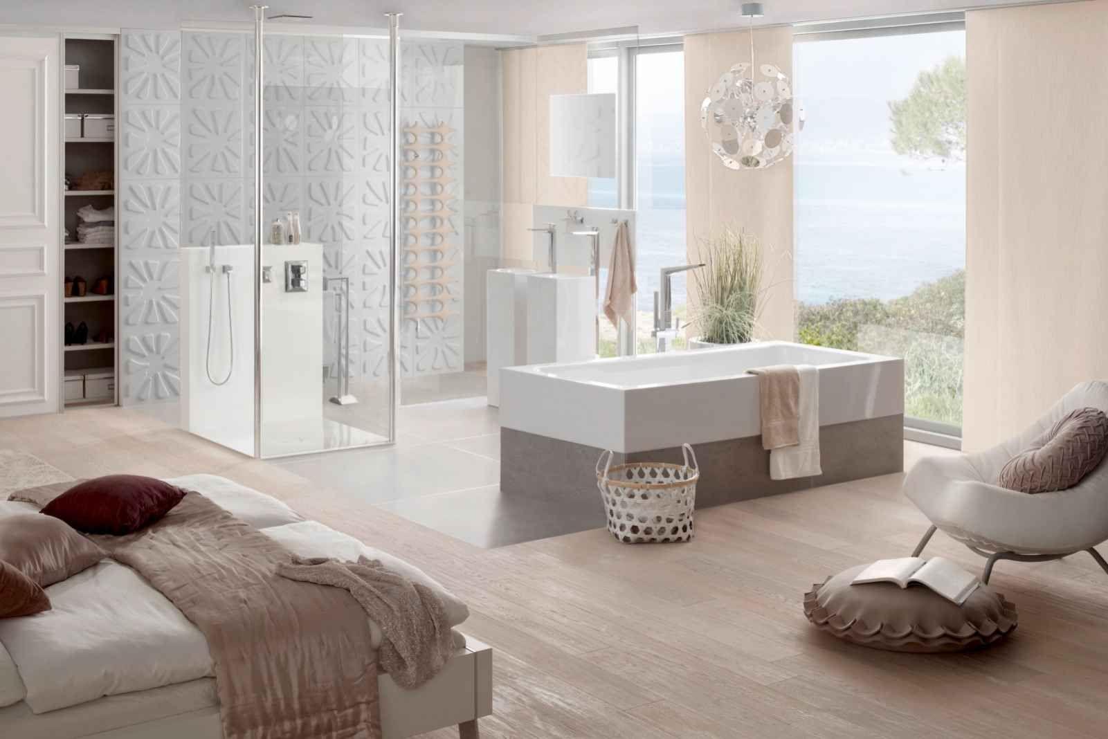 Kombinierte schlafzimmer und badezimmer mit rechteck badewanne one highline badezimmer for Schlafzimmer einrichten 3d