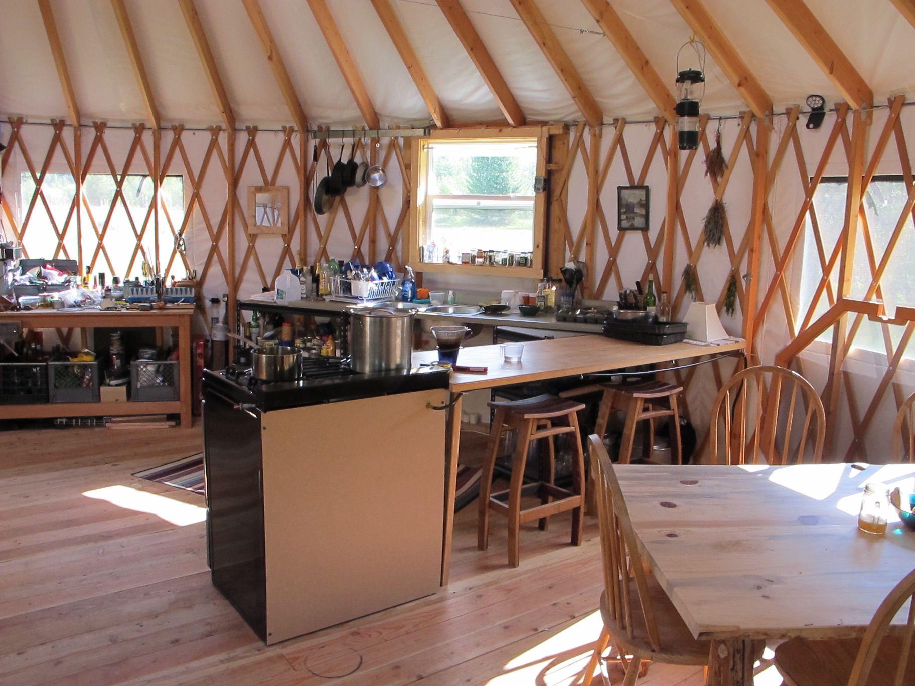 Www Shelterdesigns Net Nice Kitchen Area In A 27 Shelter Designs Yurt Yurt Kitchen Design Yurt Living