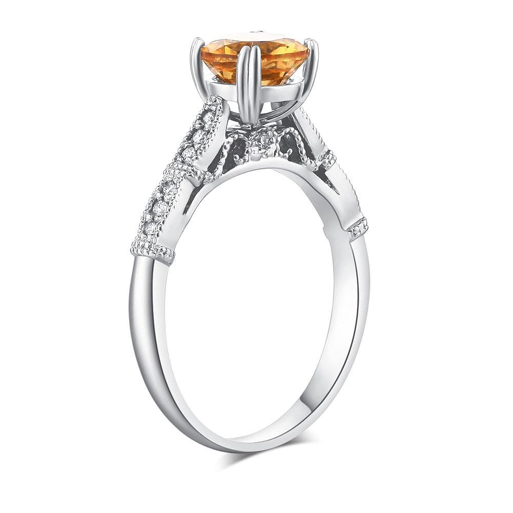 Vintage style k white gold engagement ring ct citrine natural