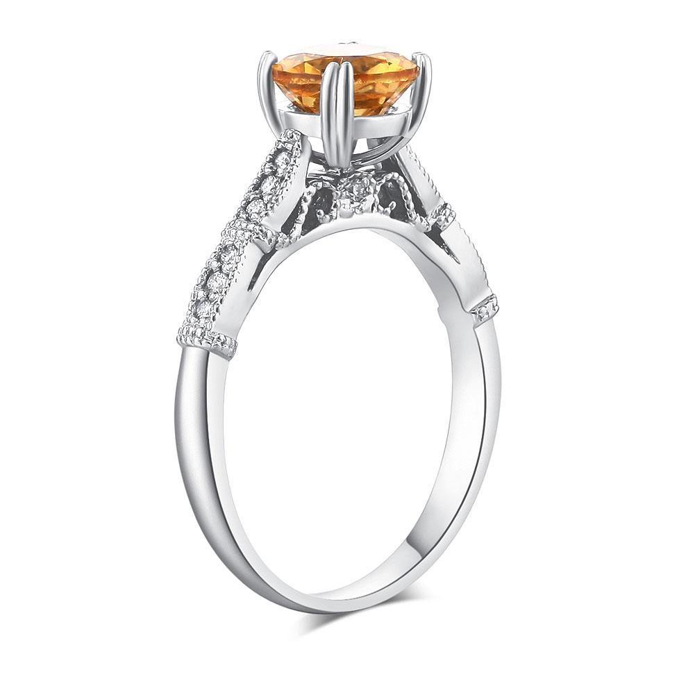 Vintage style k white gold engagement ring ct citrine natural