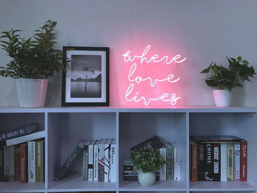 New Where Love Lives Neon Art Sign Handmade Visual Artwork Wall