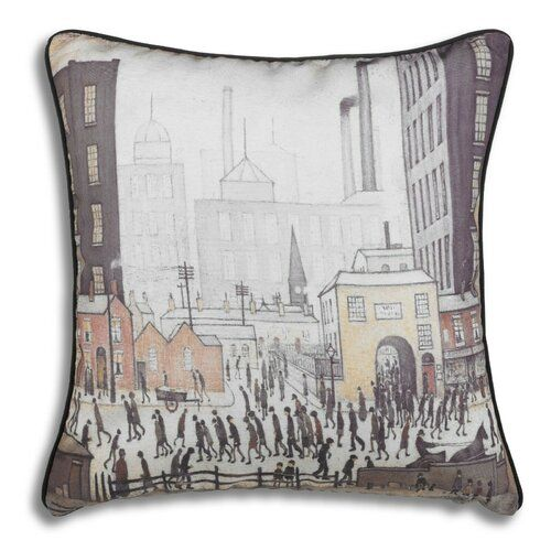 Thomas & Frederick This cushion cover is printed from original artwork by well known British artist L S Lowry. Lowry was born November 1st 1887 in Stretford, England. He died February 23rd 1976 in Glossop, Derbyshire, England. He is famous for painting scenes of life in the industrial district of North West England. Many of his paintings depict Pendlebury, Lancashire, where he lived and worked for more than 40 years. He developed a distinctive style of painting and is best known for his urban la
