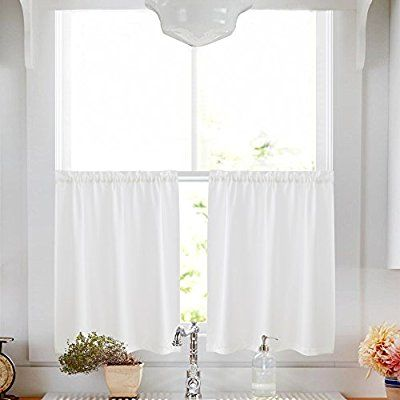 Privacy Thick Kitchen Tiers Semi Sheer Café Curtains Rod Pocket Casual Weave Textured Half Window For Bathroom 45 L White Ca Home