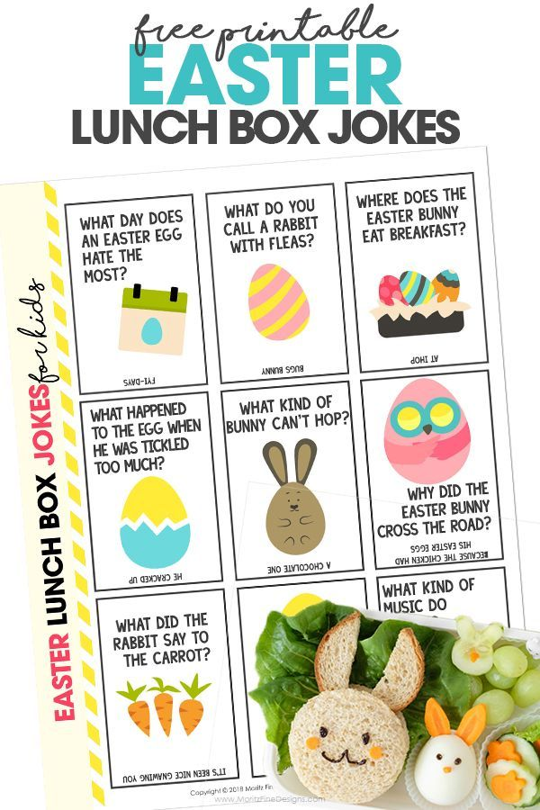 Skip the boring school lunches, pack your kid's lunch with these funny and free printable Easter Lunch Box Jokes for Kids.