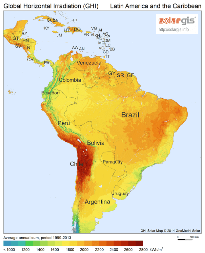 Solar Energy Potential Map Of Central And South America THE - Solar power map us