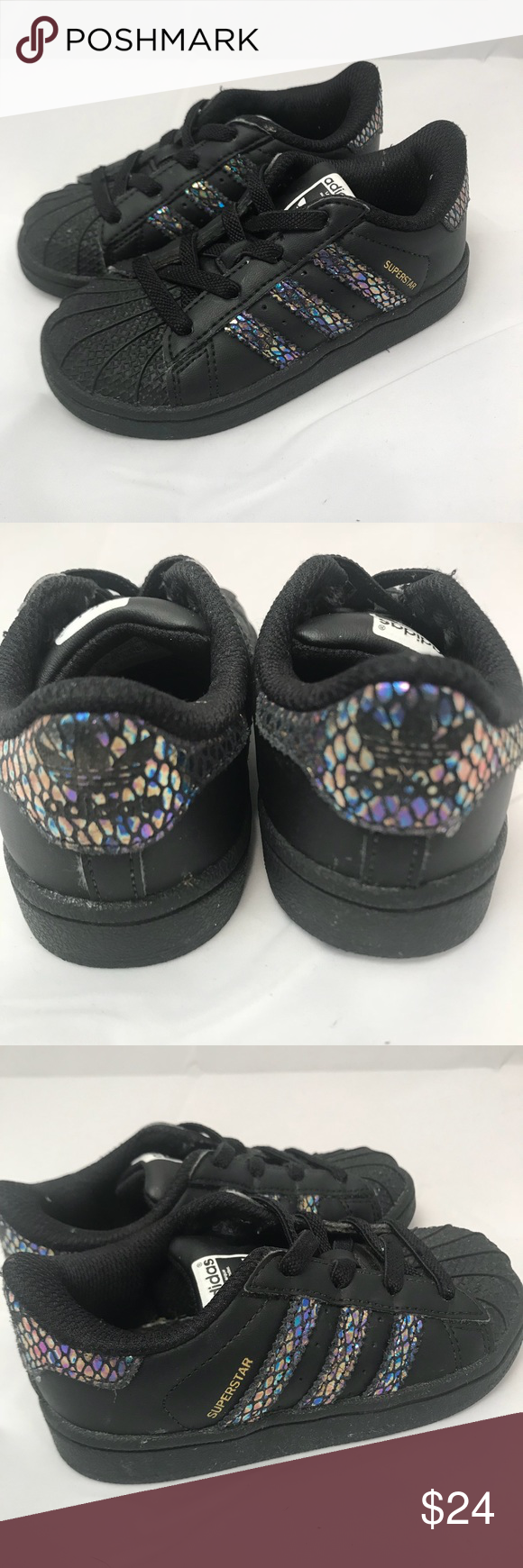 buy popular d262c a6371 ADIDAS Superstar Toddler Shoes Sneakers Black 7K ADIDAS Superstar Gym Shoes  Black Glitter Accent Slip On Trefoil Logo Very Good Condition Size  7K  adidas ...