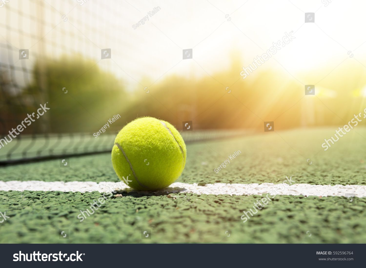Tennis Ball On A Outdoor Green Hard Court Ad Affiliate