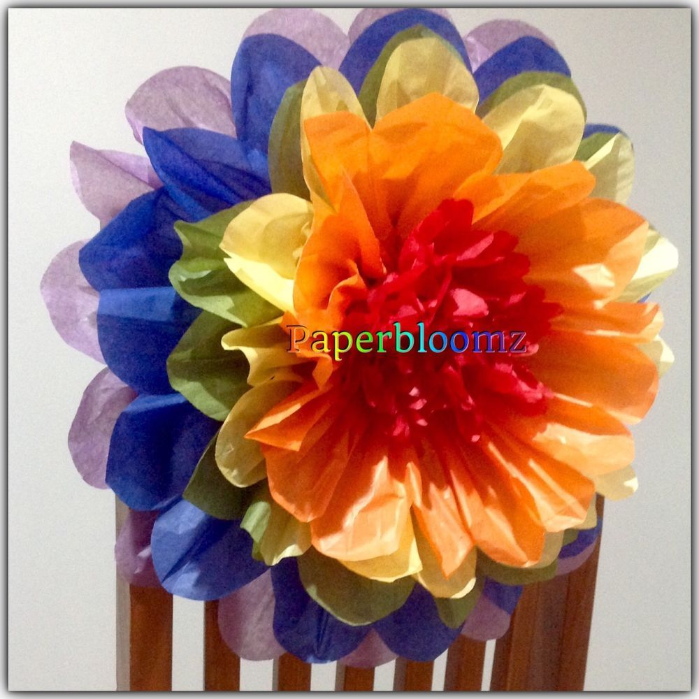 Paperbloomz Large Rainbow Tissue Paper Flowers X 5 Bulk Flowers