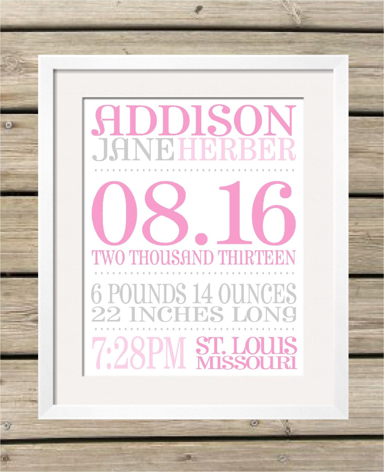 Personalized Baby Birth Announcement Art Print - Baby Stats - Personalized Baby Gift - Baby Girl - Baby Boy - Baptism Gift - Nursery Decor by KoalaPrintworks on Etsy https://www.etsy.com/listing/108689764/personalized-baby-birth-announcement-art