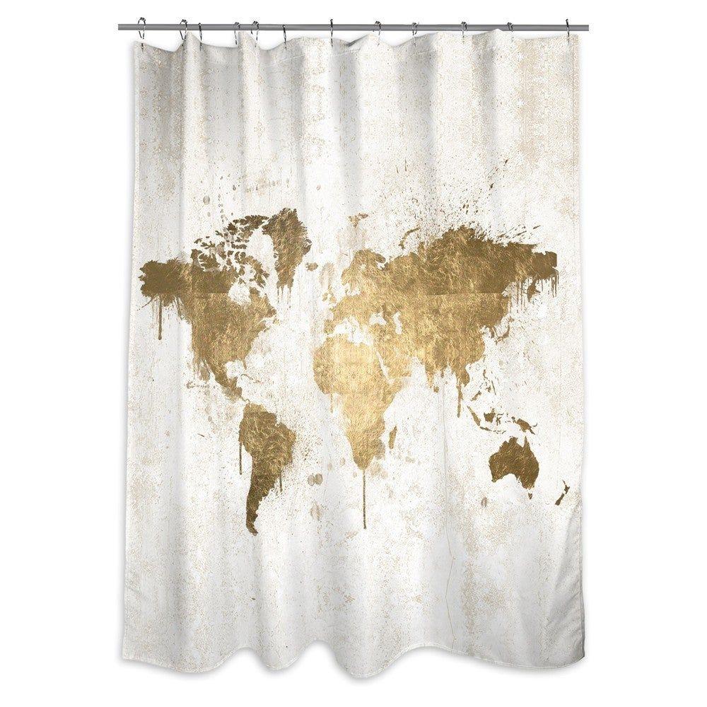 Oliver Gal Mapamundi White Gold Shower Curtain In 2020 Gold