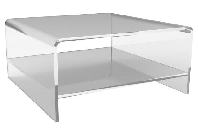 Waterfall Square Coffee Table W Shelf Luxury Coffee Table