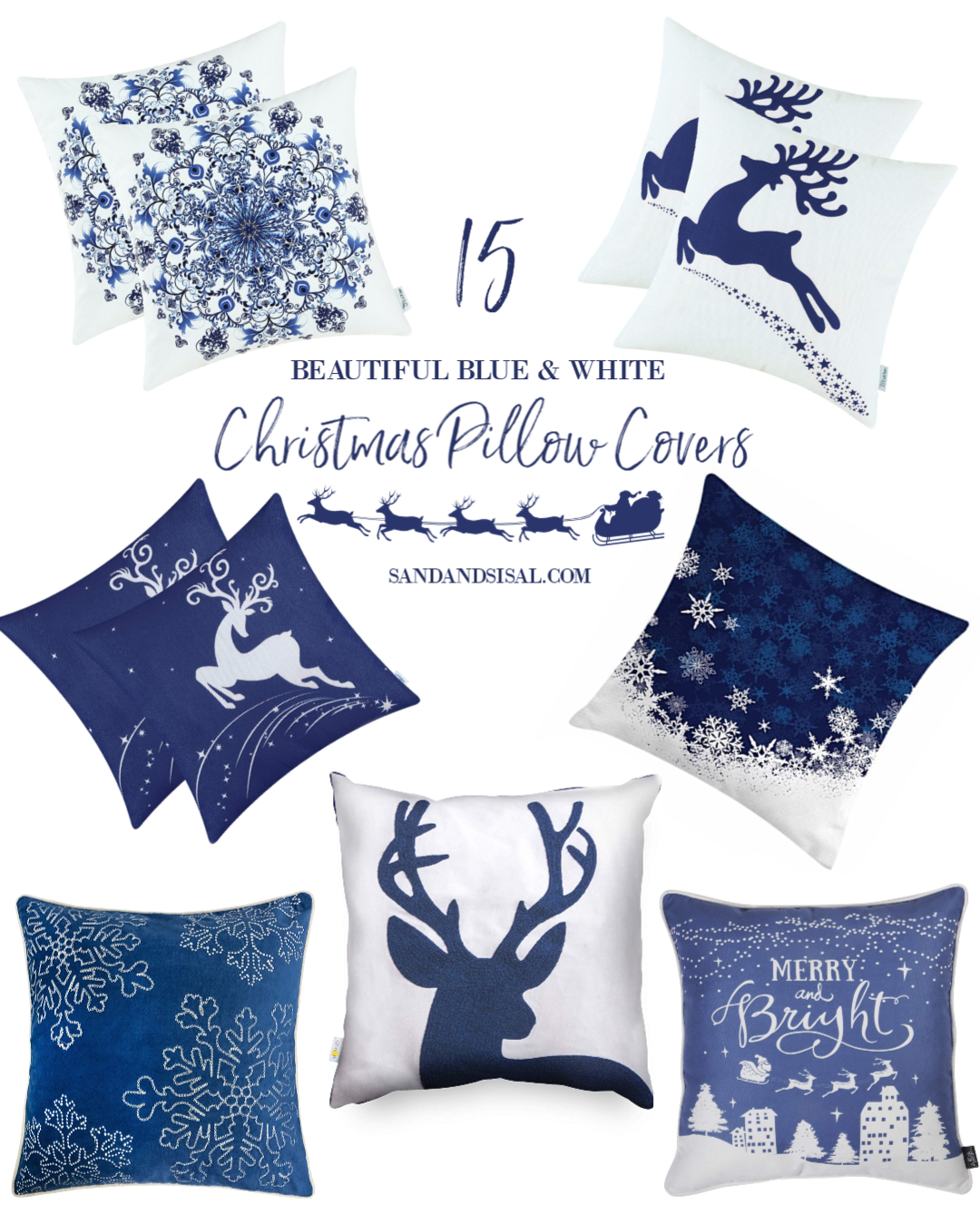 15 Beautiful Blue and White Christmas Pillow Covers images