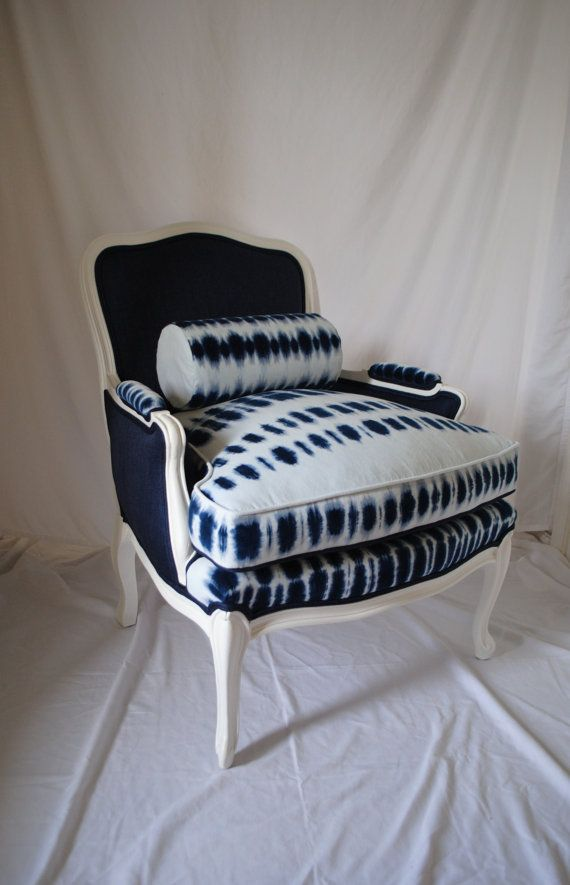 a versatile tie dye chair that allows for two different looks with a