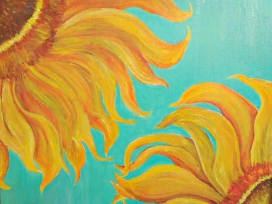 Sunflowers acrylics on canvas painting, original wall art ...