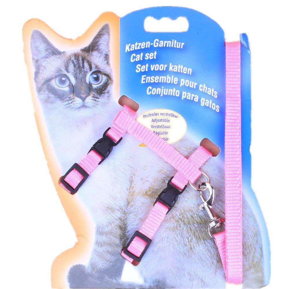 Smartness adjustable cat harness nylon strap ishaped breast