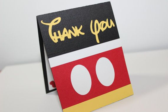 Tarjeta Hecha A Mano Gracias Mickey Mouse Para Cumpleaños