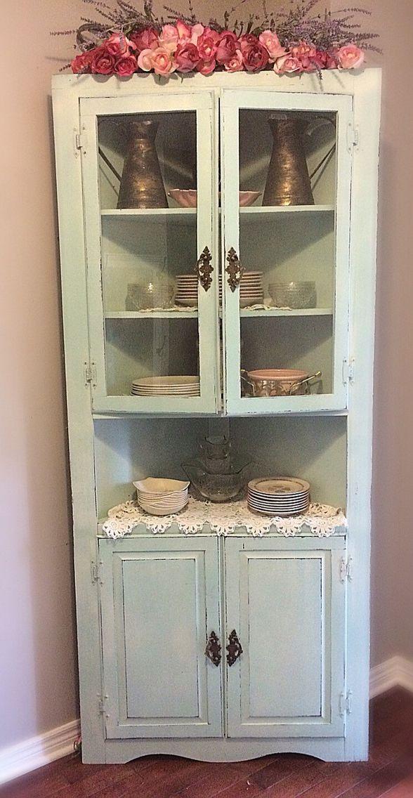 Shabby Corner Cabinet Vintage Cabinet Chippy Cabinet Corner