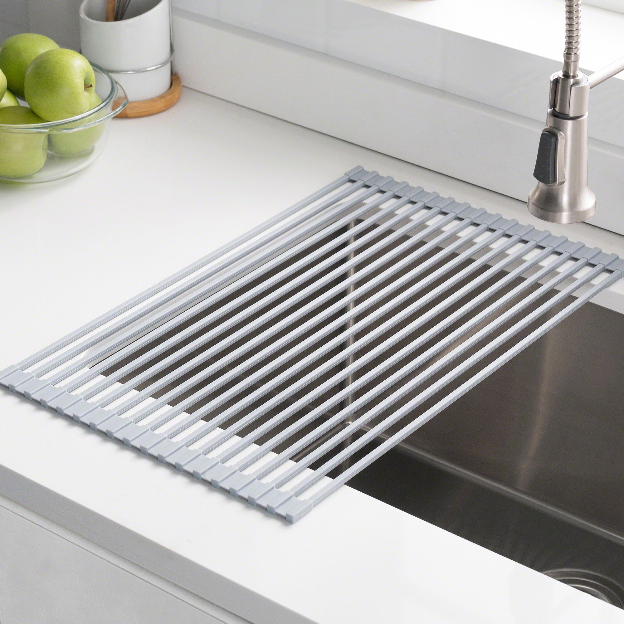 Stainless Steel Multipurpose Over Sink Roll Up Dish Drying Rack In