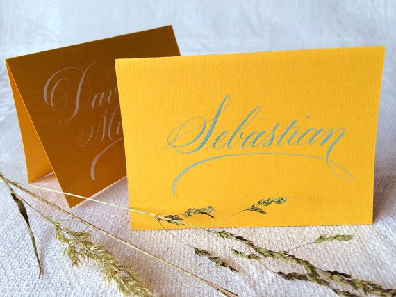 1 Calligraphy Place Card, Sunflower coloured Card Board, with White or Teal Coloured Ink (Folded Card) by Federflug