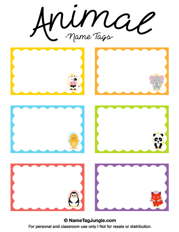Free printable animal name tags the animals include a cow for Preschool name tag templates
