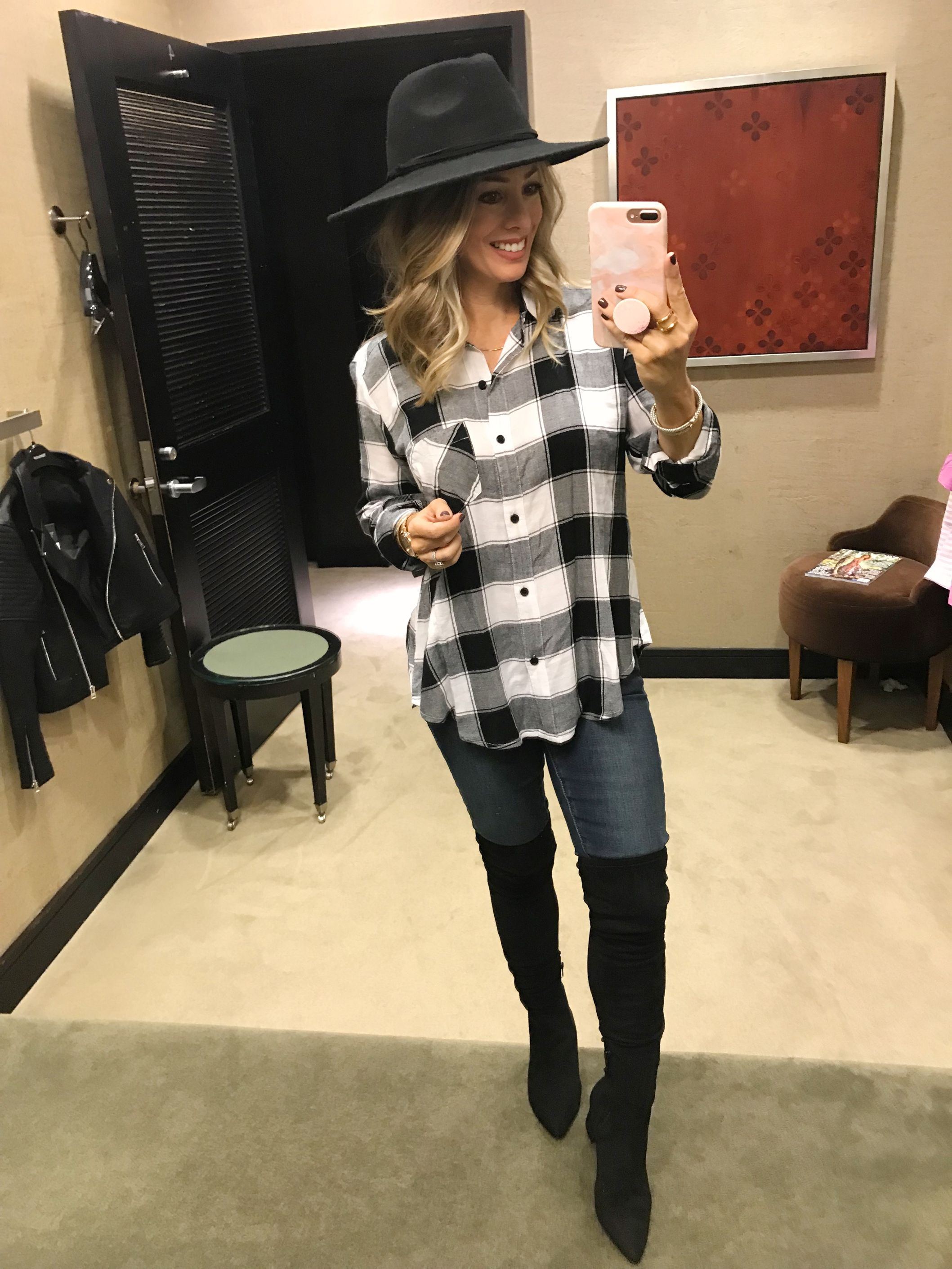 547267edc68 Nordstrom Anniversary Sale 2018 -plaid top skinny jeans black over the knee  boots