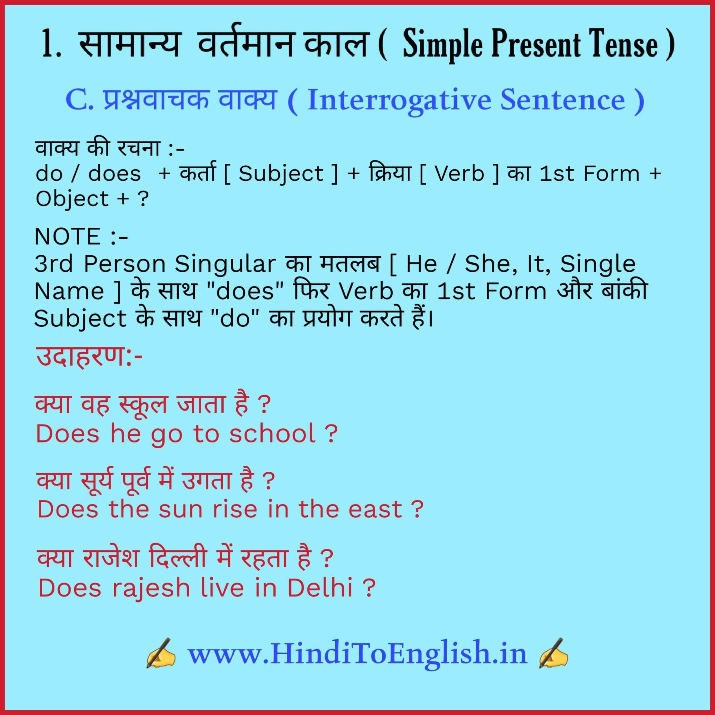 Tense In Hindi Tense In Hindi