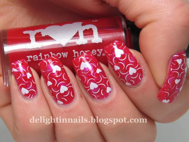 Delight In Nails: Red Hearts Jelly Pond Manicure with Rainbow Honey Red Jelly Sandals