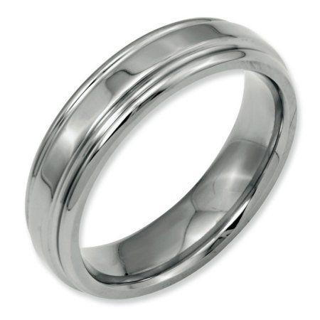 Wedding Bands Classic Bands Domed Bands w//Edge Stainless Steel Ridged Edge 8mm Brushed and Polished Band Size 13