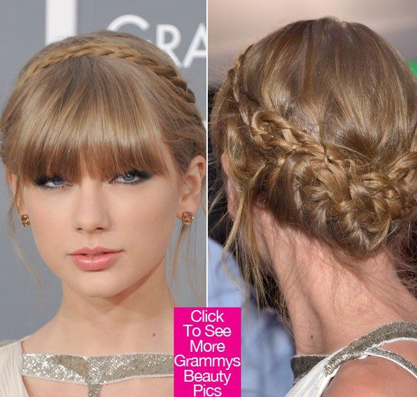 Taylor Swift's Beauty At The 2013 Grammys: Braids & Bangs
