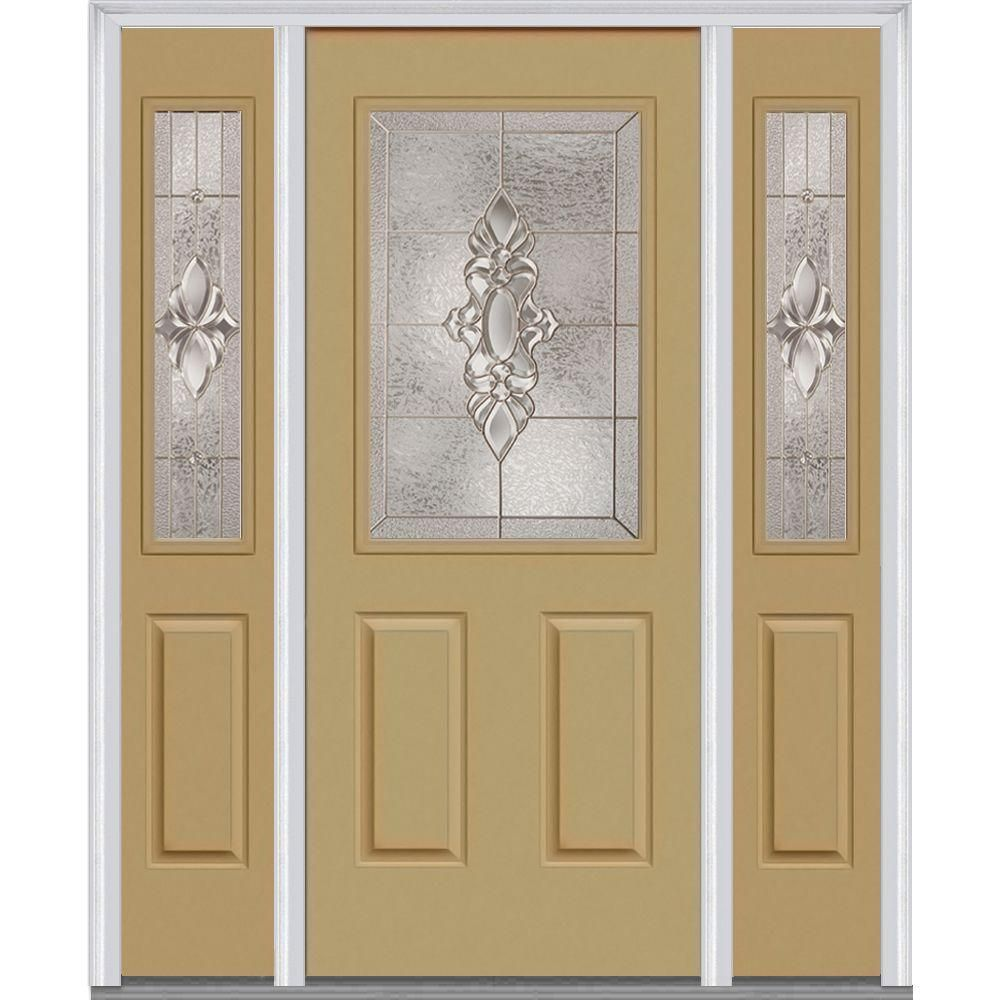 Mmi Door 60 In X 80 In Heirlooms Left Hand 1 2 Lite Decorative Painted Fiberglass Smooth Prehung Front Door With Sidelites Z014146l Products Exterior Doo